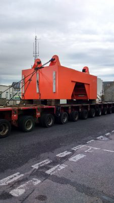 200 tonne ballast block being transported through Thurso to Scrabster harbour, 24th September 2016